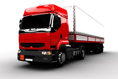 Red and white transport truck Royalty Free Stock Images