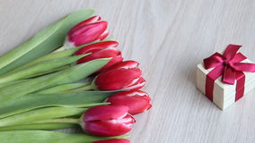 Red-white tulips and gift with red bow are located on a white table. stock video footage