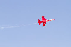 Red and White Turkish Airplane Stock Photography