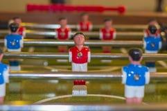 Foosball Figurines on Field royalty free stock photos