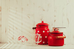 Red and white utensils Stock Image