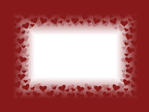 Red and white valentines day card background frame illustration design with hearts. With blank space Royalty Free Stock Photos