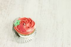 Red and white vanilla cupcakes Royalty Free Stock Photo