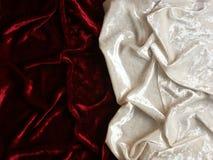 Red and white velvet. Wrinkled red and white velvet background Royalty Free Stock Photos