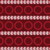 Red and white vertical triangle striped with red circle knitting. Pattern background vector illustration image Stock Images