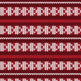 Red and white vertical triangle striped with white row and doubl. E red row knitting pattern background vector illustration image Royalty Free Stock Images