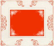 Red and white vintage banner background. Red and white vintage old stamps, banner background Stock Photo
