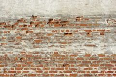 Red White Vintage Brick Painted Wall With Damaged Plaster Stock Image