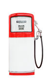 Red and white vintage gasoline fuel pump with clipping path. Stock Photos