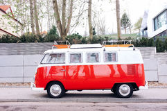 Red and White Volkswagen Combi on Road during Daytime Royalty Free Stock Photos