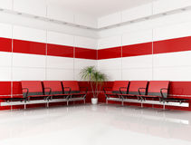 Red and white waiting room Royalty Free Stock Photo