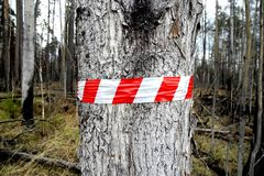 Red and white warning sign stock photos