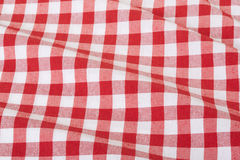 Red and white wavy tablecloth. Red and white wavy gingham tablecloth texture background, high detailed Royalty Free Stock Image