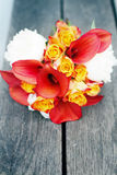 Red and white wedding bouquet Stock Photography
