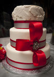 Red and White Wedding Cake Stock Photo