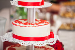 Red and White wedding Cake Royalty Free Stock Photography