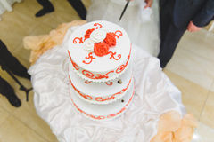 Red and White Wedding Cake Stock Images