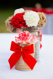Red and White Wedding Decor Flowers Stock Photo