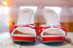 Red and White Wedding Shoes Stock Photography