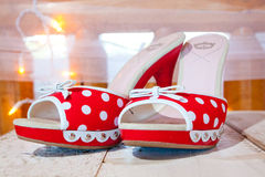 Red and White Wedding Shoes Stock Photo