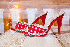 Red and White Wedding Shoes Stock Images