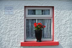 Red and White. A red and white window in the town of Cong, Ireland stock photos