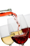 Red and white wine. Isolated on white background royalty free stock photo