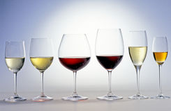 Red and white wine. Glasses of red and white wine stock image
