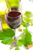 Red and white wine. Glass and bottles of red and white wine, with grape vine royalty free stock image