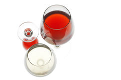 Red and White wine. On white background Royalty Free Stock Image