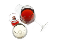 Red and white wine. On a white background Stock Photos