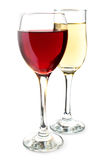 Red and white wine. Two glasses with red and white wine on a white background stock photo