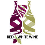 Red and white wine. Illustration of red and white wine on a white background Stock Photo