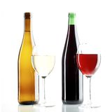 Red and white wine. Still life with red and white wine on the white background stock photo