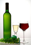Red and white wine. Opposite white light royalty free stock images