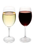 Red and white wine. Glasses isolated on white stock photography