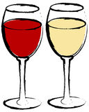 Red and white wine. In wine glasses - vector Stock Images