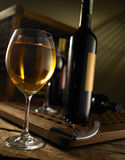 Red and white wine. Composition in mood lighting royalty free stock image