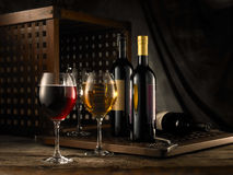 Red and white wine. Composition in mood lighting