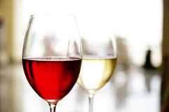 Red and white wine. Glass of red and white wine at a restaurant stock photo