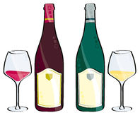 Red or white wine. Glass and bottle of red or white wine isolated on white Stock Photos