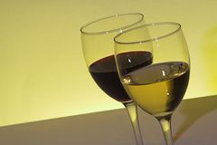 Red and white wine. Glasses stock photo