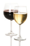 Red And White Wine. Glasses of red and white wine with white background stock images