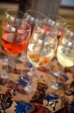 Red and white wine at a barbeque Royalty Free Stock Image