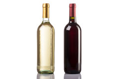 Red and white wine bottle on white background Stock Photography