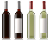 Red and white wine bottles clean and with labels  on white background with reflection Stock Image