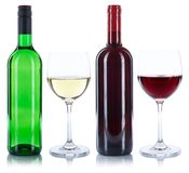 Red and white wine bottles glass alcohol isolated. On a white background royalty free stock photos