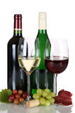 Red and white wine in bottles isolated Stock Images