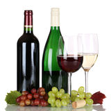 Red and white wine in bottles isolated Stock Photography