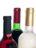 Red and white wine bottles isolated royalty free stock image
